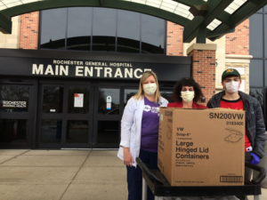 Box of food being delivered by a team member to health care workers Rochester General Hospital