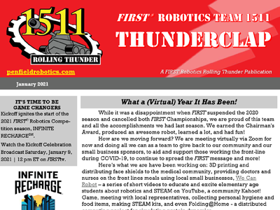 Capture of the top of a team newsletter named Thunderclap