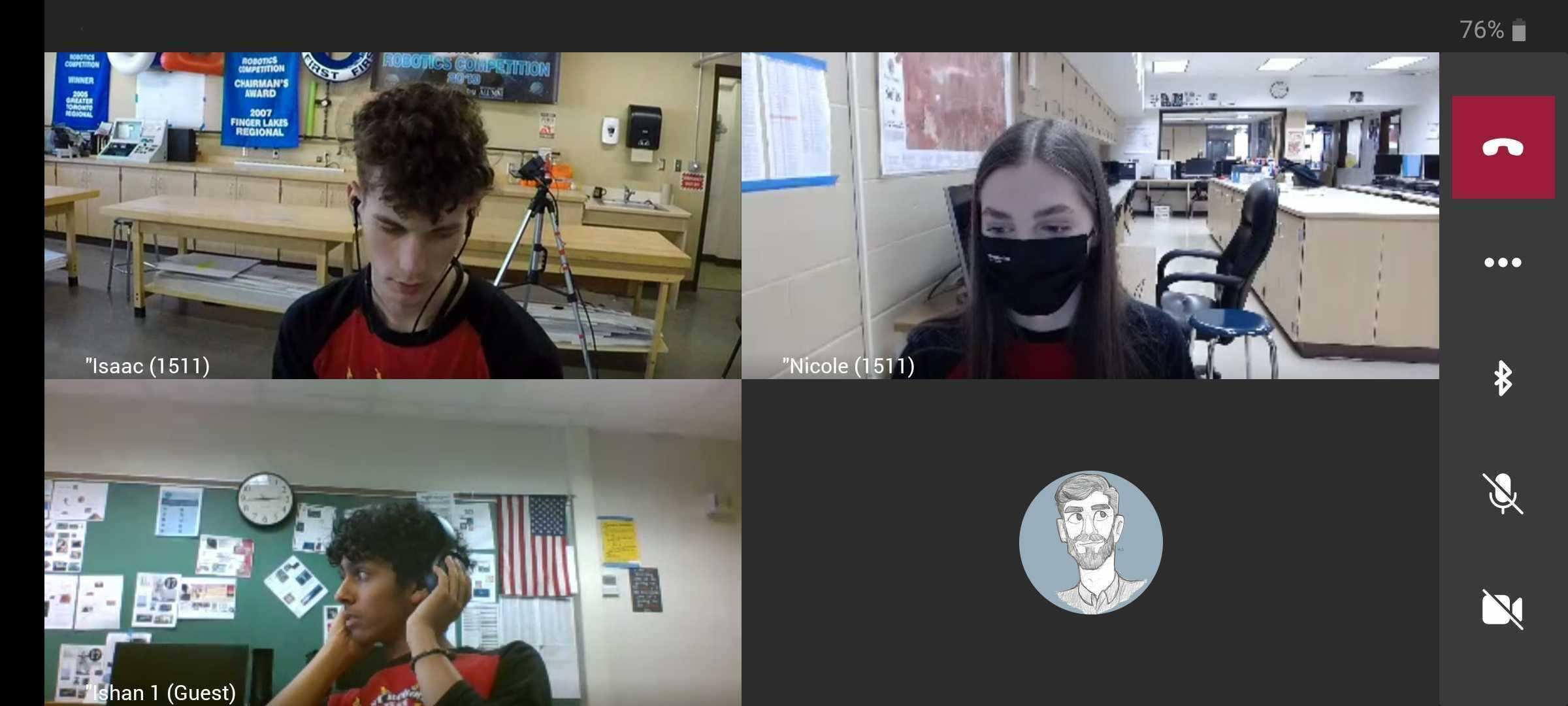 Computer screen shot of students on a Zoom meeting